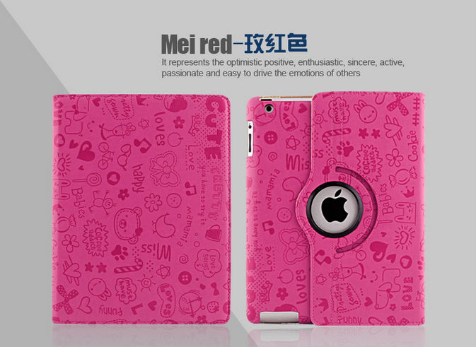 2014 Hot selling Mini Small Girl series PU stand 360 rotating case for ipad 2 3 4