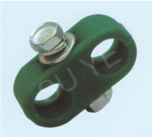 small plastic pipe clamp with one bolt and two hole