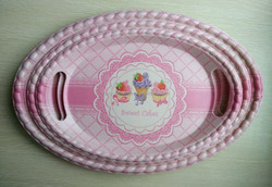 Oval Melamine bamboo tray new design with bamboo plant fiber
