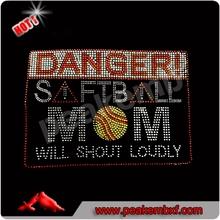 Hot Sale Stones Danger Softball Mom Rhinestone Motif Hot Fix Designs for Clothes