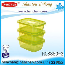 Cheap airtight plastic food container with easy lid 500ml set of 3