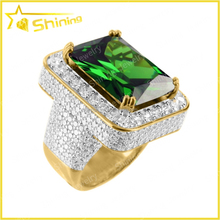 unique design for 2015 men women sterling silver jewelry 925 silver ring with green stone