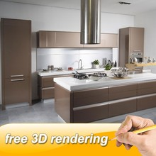 I-shaped flat pack kitchen design philippines with kitchen island