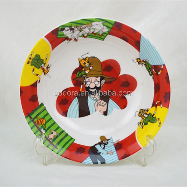 Gros pas cher en c ramique enfant assiette avec pleine bande dessin e stickers personnalis - Assiette pas cher en gros ...