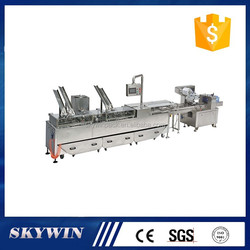 Automatic low broken rate double line 2+1 biscuit sandwiching connect packaging machine