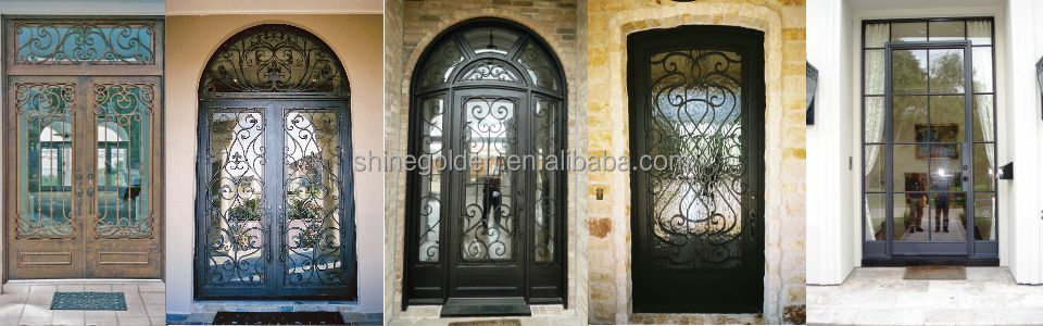 Gyd-15d0263 Modern Cast Iron Decorative Exterior Metal French Doors ...