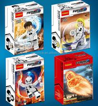 2015 New Fantastic Four 4pcs/set Invisible Woman/Mr Fantastic Minifigures Building Blocks 4.5cm Plastic Action Figure Model Toys