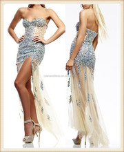 2015 wholesale price long strapless heavy beaded nude sexy open leg side split tulle evening dress for seniors