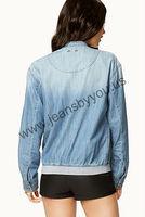 Made in china garment factory light blue denim jackets women collarless jacket denim tops denim coat