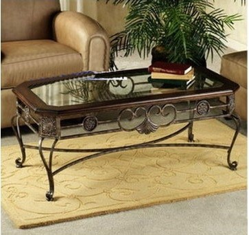 American special glass wrought iron wrought iron for Wrought iron wood and glass coffee table