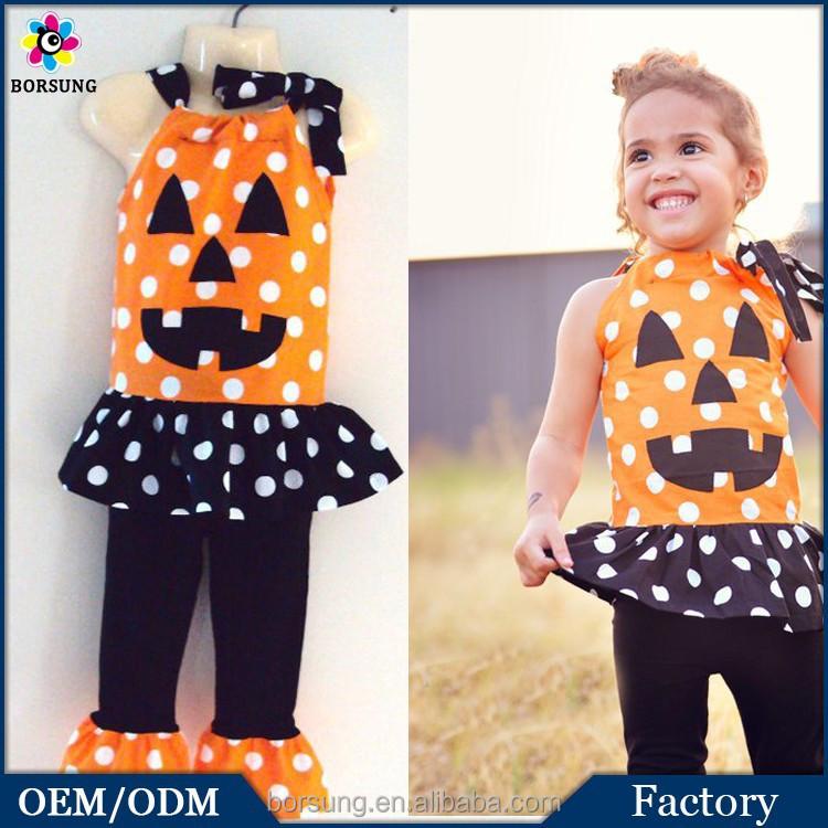 Orange Polka Dot Top Matching Black and White Ruffle Girls Halloween Costume