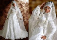 2014 Beautiful New Design White Color Long Sleeve Custom Made Online Arab Hijab for Muslim Women TM1641 Muslim Wedding Dress