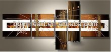 hand-painted oil wall art Golden color Abstract Landscape Framed oil painting on canvas 5pcs/set wood framed on the back