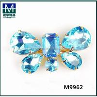 2015 fall blue crystal rhinestone decorative shoe clips for flat shoe. M9962