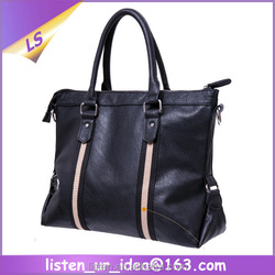 New Fashion Brand Portable PU Leather Mens Briefcase Hand Bag