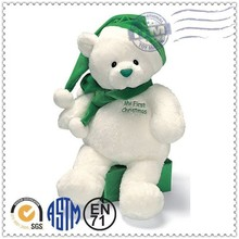 Wholesale most popular delicate cute custom white christmas teddy bear plush toy