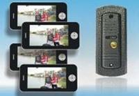 Hot 7-inch color video door phone for villa /intercom systems/door bells (Iphone shape, pinhole camera,4 monitors+1 camera)