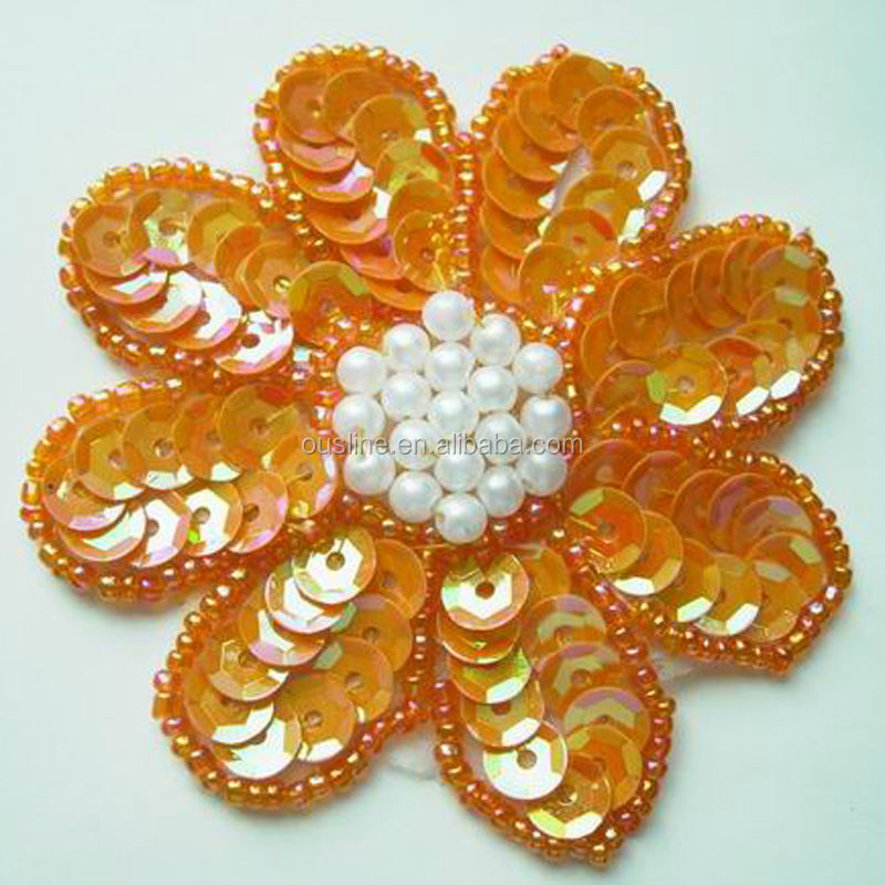 Sequin embroidery design flower hand applique beads buy