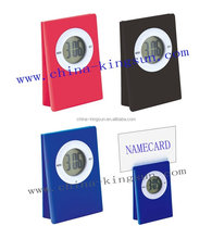 Promotion mini digital clock with namecard clip