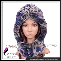 CX-C-193A 2015 New Style Rex Rabbit Fur Hat Knitted Hat Scarf Attached