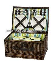 hot sale 4 person wicker picnic basket set