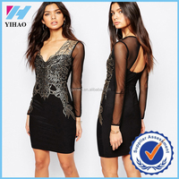 Yihao 2015 new transparent black sexy hot girl club lace mesh stitching Slim full picture of hot girls dress