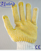 RL SAFETY 650g High Quality Yellow PVC Dotted Cotton Knitted Work Gloves