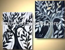 black and white tree group painting