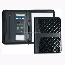 Executive zipped leather portfolio folder with calculator