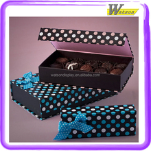 with ribbon bow cardboard printed blue and white dot for chocolate cookie custom book shape paper gift box
