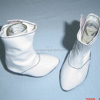 8cm high heel TPR sole,white PU made Plastic Doll Shoes