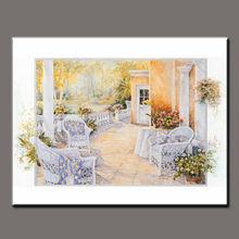 handmade garden beautiful greece landscape painting