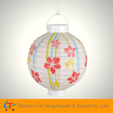 Floral design artificial Chinese battery decorative paper lantern with led light