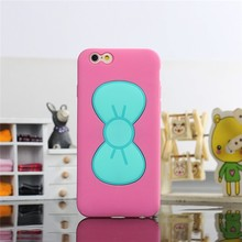Bowknot Stents silicone case with holder Soft Protective Skin Case Cover for Iphone 6