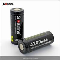Soshine Rechargeable Li-ion 26650 Protected Battery: 4200mAh 3.7V
