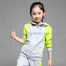 2015 New Autumn Girls Patchwork Hooded Sport Suit Fashion Casual 2 Set Children Clothes