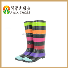 2015 Low Heel Rainbow Women New Waterproof Clear Rain Rubber Boots Casual Cheap shoes