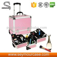 HOT beauty pink travel aluminum trolley makeup case