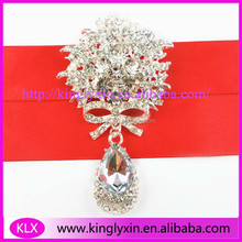 50*77mm Clear crystal rhinestone brooches with droplet for flower bouquet