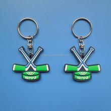 field/land/grass hockey stick soft PVC keyrings/key peadant charm/keychains