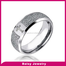 wholesale price Celtic Cross Design Curved Brushed stainless steel Ring 8mm