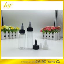 elegant bottle 30ml slim PET bottle with tower childproof cap for e liquid from bottle manufacturer