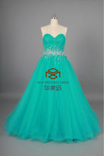 HMY-P001 China Wholesale Real Pictures Sparkling A-Line Sweetheart Heavy Beaded Turquoise Prom Dress 2015
