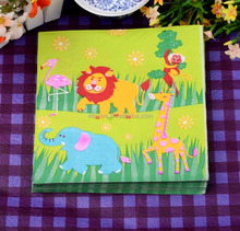 beautiful design with lovely lion printed paper napkin