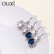 Silver drop earrings for wedding, big diamond women earrings