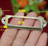 Golden Iron Label Frame Card Holder without Cup Pull drawer box case bin cabinet carpenter Size small 60*17mm