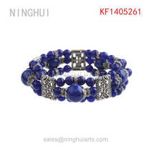 wholesale silver plated wide colorful blue beads single wing pendant bracelet