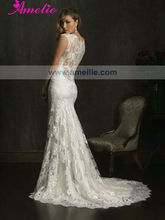 A9068 All Over lace Cap Sleeve high neck low back wedding dresses