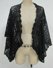 100% de punto de algodón crochet patrón de mariposa de la capa de talla grande