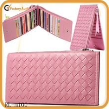 2015 luxury credit card case sheep leather card holders weave wallet bags
